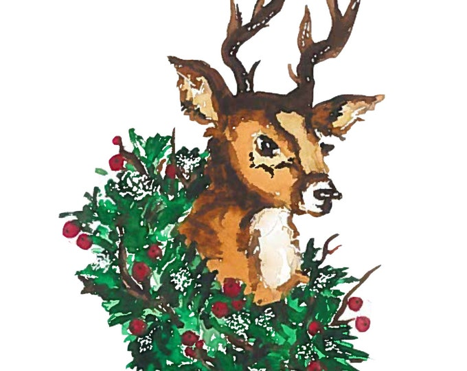 Christmas Deer with Wreath