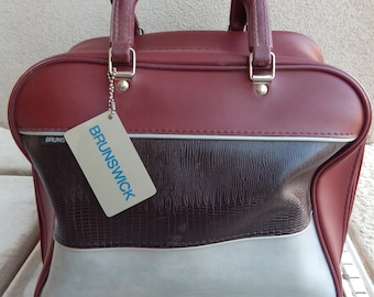 Vintage Brunswick Bowling Bag Red and Gray