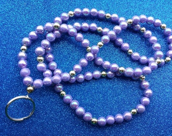 Purple and Gold Beaded Lanyard or Badge Holder