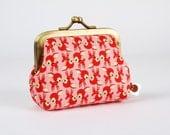 Frame coin purse - Chibi deer on pink - Deep mum / Kawaii japanese fabric / Little bambi / brown red pink / Woodland Spring / Cute deer
