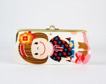Eyeglass frame purse - Cute girls - Long purse / Eyeglass fabric case / Cell phone holder / Kawaii japanese fabric