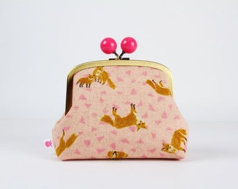 Metal frame clutch bag - Foxes on pink - Color bobble purse / Japanese fabric / Rust fox / Pink triangles linen blend