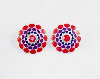Lovely Red Fuchsia & Purple Enamel Clip On Earrings
