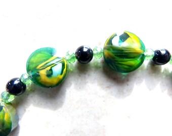 Lampworked Glass, Black Agate & Crystal Bracelet