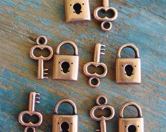 5 Sets Lock and Key Charms, Lock & Key, Copper Key Charms, Lock Charms, Copper Lock and Keys, Copper Keys, Copper Locks, Necklace Charms
