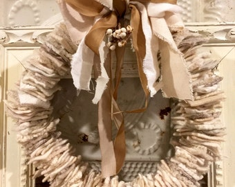 Ivory Felted Wool Holiday Wreath
