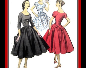 Vintage 1956-GLAMOROUS PARTY DRESS-Sewing Pattern-Two Styles-Empire Waist-Shaped Midriff Section-Raglan Sleeves-Circle Skirt-Size 16-Rare