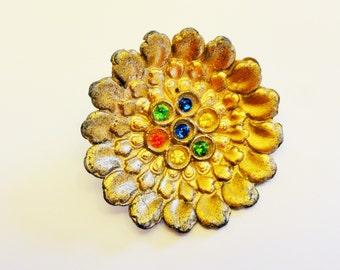 Large Gold Tone Metal Rhinestone Button - Vintage