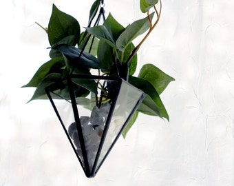 Hanging Cone Pyramid Glass Terrarium- Modern Geometric - Stained Glass Decor - Home Decor