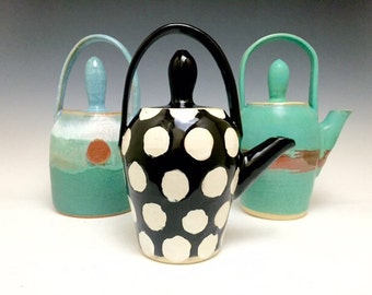 Handmade Ceramic Teapot: Black n White; Polka Dots; Modern Design; (sold individually)