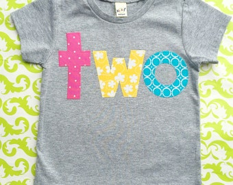 READY TO SHIP  2nd second  'two' Birthday Shirt in heathered gray, size 24 months