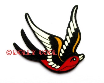 Swallow Brooch Sparrow Pin Tattoo Style Black & Red by Dolly Cool