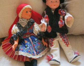 Vintage ethnic boy girl costumed dolls, Bavarian doll pair, ornately embroidered girl boy doll set, dolls of world pair,