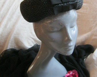 Vintage black woven raffia pillbox hat, black woven Valerie Modes hat, schoolgirl style pillbox hat with bows,