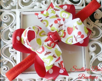 New Item----MINI Boutique Double Layered Hair Bow Headband---Fruit Stand---Red and Lime Green----