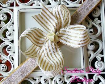 NEW ITEM----Boutique Hair Bow Headband-----White and Metallic Gold Stripe
