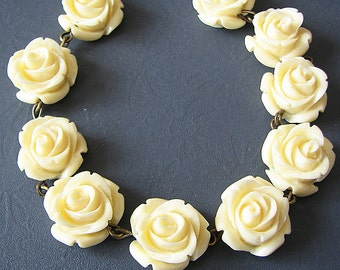 Flower Necklace Ivory Jewelry Bridesmaid Jewelry Set Rose Jewelry Beaded Necklace Rose Necklace Gift For Her