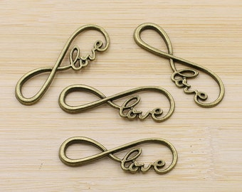 Love Connector Antique Brass Charm Infinity Pendant, Pack Of 10 Charms.