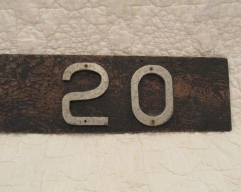 Vintage House number 20 on old board