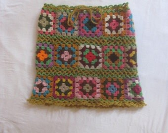 Hand Crocheted  Skirt with Granny Squares and Draw String Waist