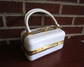 Vintage Mid Century White Plastic Box Purse Box Made in France