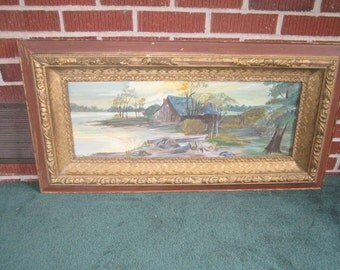 Antique Large Primitive Folk Art Lakeside Barn Oil Painting in Gesso and Wood Frame