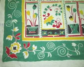 Vintage 1950s Linen Pride of Flanders 51x51 1/2 Kitchen Tablecloth with Colorful Floral Design
