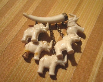 Vintage 1930s Celluloid Cluster Brooch with Five Dangling Elephant Charms