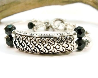 Black and Silver Cuff Bracelet, Double Bracelet, Gifts for Her, 2 Strand Bracelet, Curved Tube Bracelet, Classic Jewelry