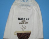 Coffee cup crochet top double hanging kitchen dish towel