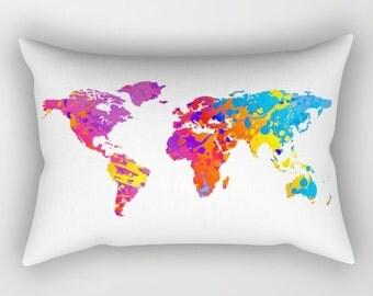 Colorful World Map Lumbar Pillow, World Map Art, Throw Accent Pillows Outdoor