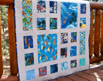 Quilt Blue Hawaiian Baby Toddler Children Tropical Beaches Waves Palm Trees Surfboards Sunsets Fish Patchwork Nursery Bedding Batiks