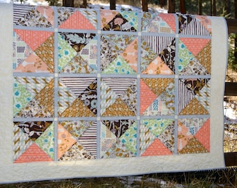 Quilt Lap Throw Cultivate Art Gallery Scrappy Patchwork Neutral Colors Coral Peach Brown Gold Modern Contemporary Leaves Flowers