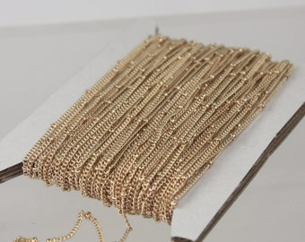 10 ft spool of Pinky Gold (Rose Gold) Plated over brass tiny curb BALL Satellite Chain - 1.3mm soldered link