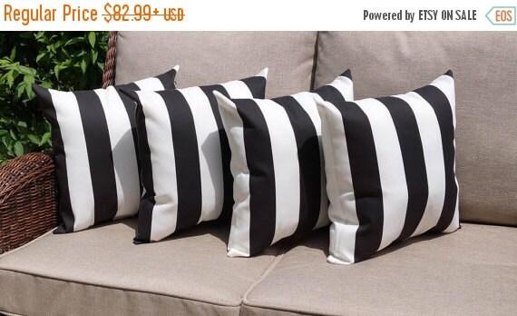 Black And White Stripe Outdoor Throw Pillows : Deck Stripe Black and White Stripe Outdoor by LandofPillowsDotCom