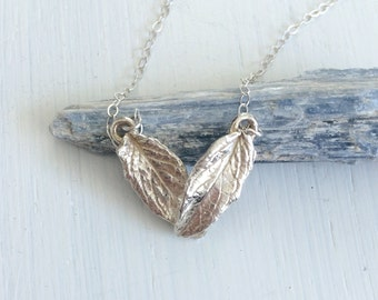 Modern Geometric Sterling Silver Mint Leaf Bib Necklace
