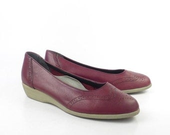Leather Wedge Shoes Vintage 1970s  Burgundy Leather Women's
