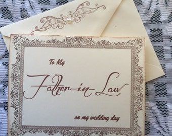 To My Father in Law on my Wedding Day Card, Father in Law Card, Father of the Groom Card Father of the Bride Card
