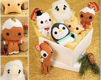 Penguin Deer Snowman Yeti Gingerbread Star Stuffed Animal Ornaments Simplicity 8035 J0209 Craft Holiday Christmas Tree Holiday Decoration