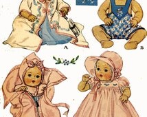 DyDee or Tiny Tears Doll Clothes PATTERNS 513 for 11 inch dolls by Effanbee Baby Bunting Bag Dress Bonnet Slip Sun suit PDF instant download