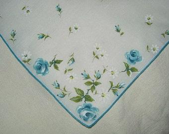 Vintage White Hanky with Blue Flowers - Handkerchief Hankie