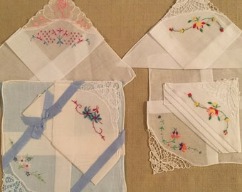 6 Vintage Handkerchiefs with Embroidered Flowers - Hankies