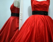 Sample Sale - Grace in red with halterneck - 1950s Tea Length Wedding Dress