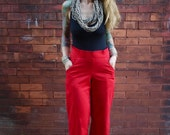 Wide Leg Red High Rise Pant~Womens Pants with Pockets~Loose Fit Pants~Sexy Pants~Women Trousers~Dress Pants~Cotton Pants~Sexy Pants~Low Rise