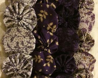 Fabric Yoyo Royal purple and gold colors, Suffolk puff Yo flower  Scrapbook Embellishment   GARLAND decoration