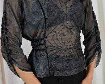 Edwardian Blouse, 20s Styled Blouse, Sheer Blouse,  Boho Blouse, Black Blouse, Goth Top, Romantic Blouse, 1920s Blouse