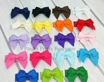6 Itty Bitty Bow Snap Clips-Baby Bow-Toddler Bow-Fine Hair Clip-CHOOSE 6
