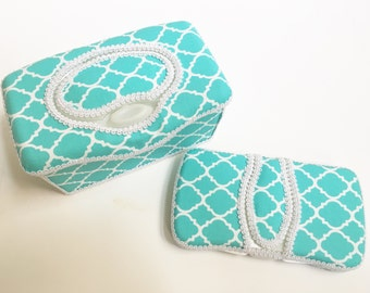 2 Pc Boutique Flip Top Baby Wipe Case Gift Set - Turquoise Quatrefoil Covered Wipes Cases
