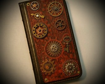 Steampunk Cell Phone Case / Wallet, Card Holder, Antique Book, Gears, Leather Embossed, Handcrafted #010