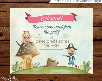 Printable WELCOME SIGN for Woodland Pirate Fairies  - 8 x 10 Custom Welcome Sign woodland Pirate Fairy